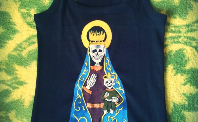Virxe da Franqueira. Camisetas pintadas amano