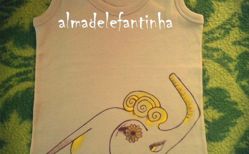 Elefante. Camisetas pintadas amano