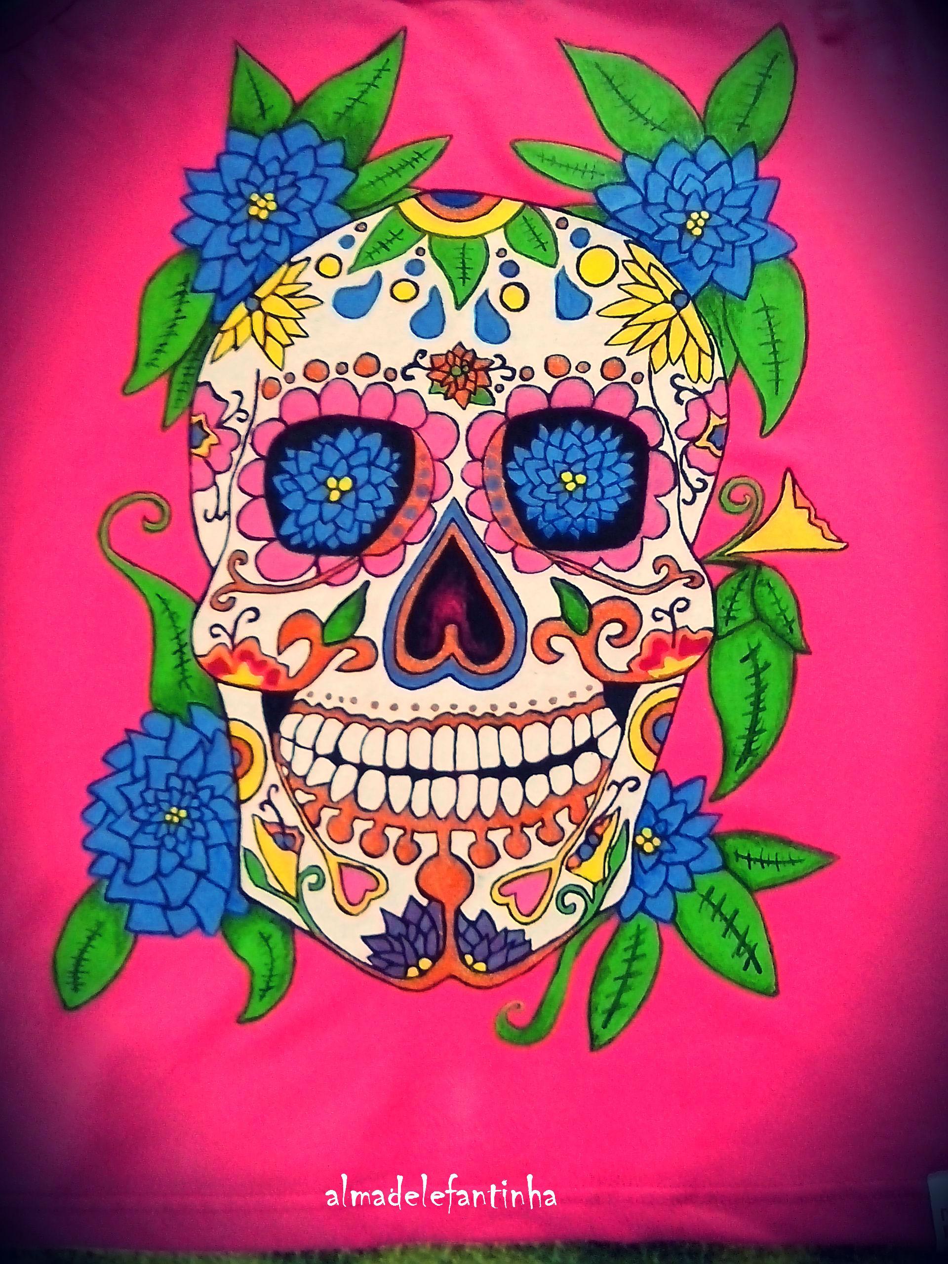 Calavera Mexicana Camisetas Pintadas A Mano Almadelefantinha