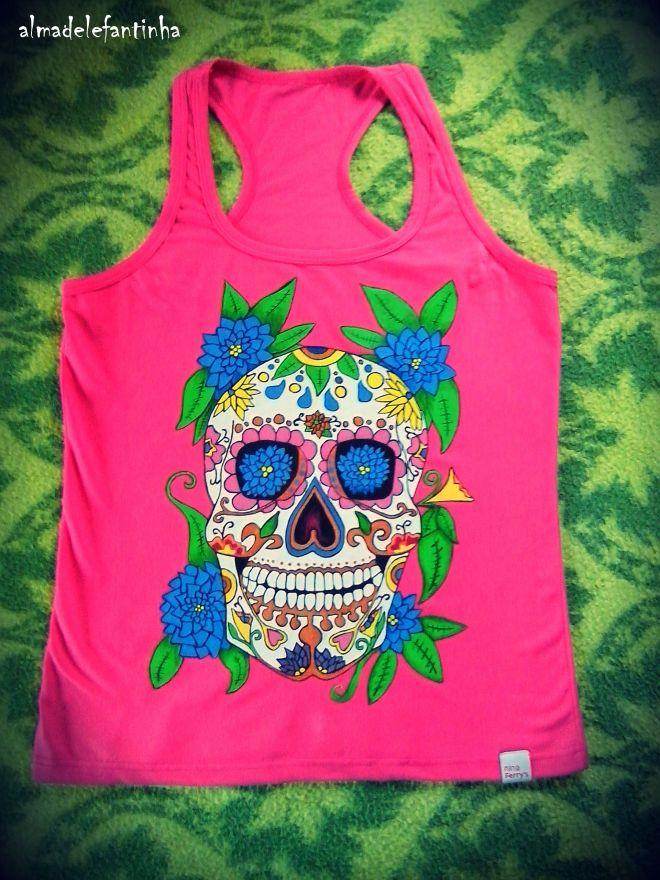 calavera mexicana camiseta pintada a mano