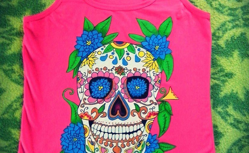 Calavera Mexicana. Camisetas pintadas amano