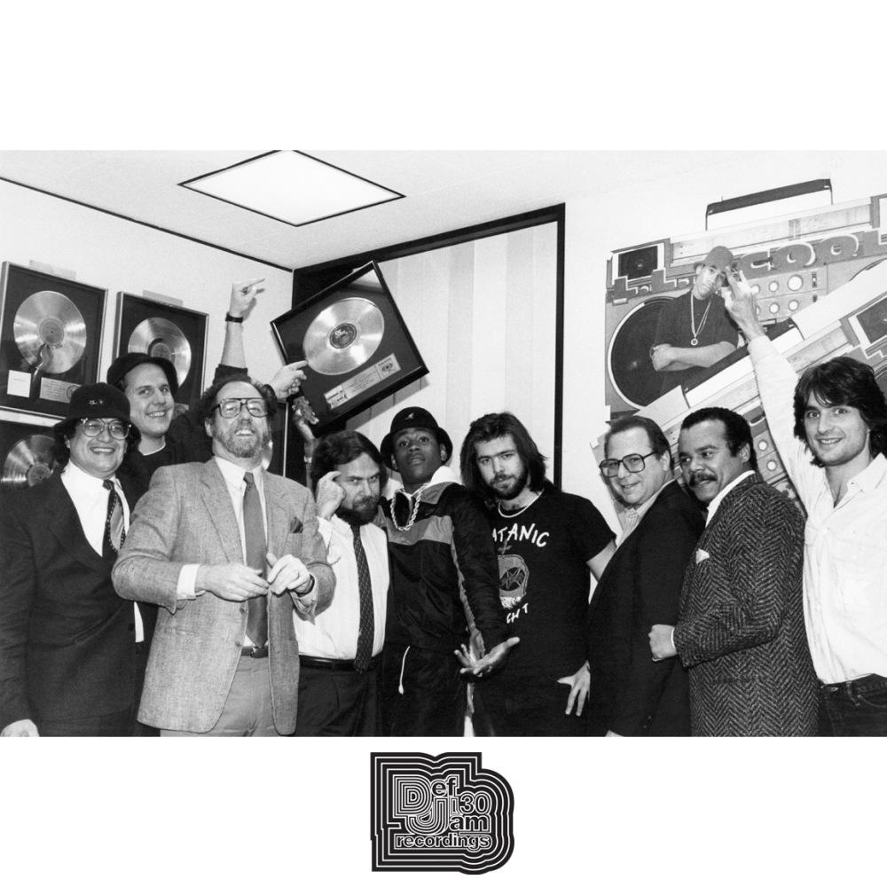 LL Cool J, Rick Rubin and Columbia Records execs. New York, April 1986.