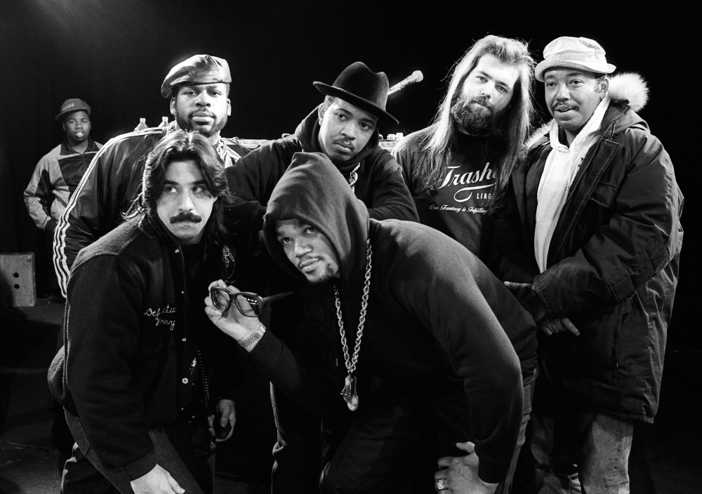 Run DMC with Rick Rubin and Russell Simmons at The Ritz in New York City on January 28, 1988.