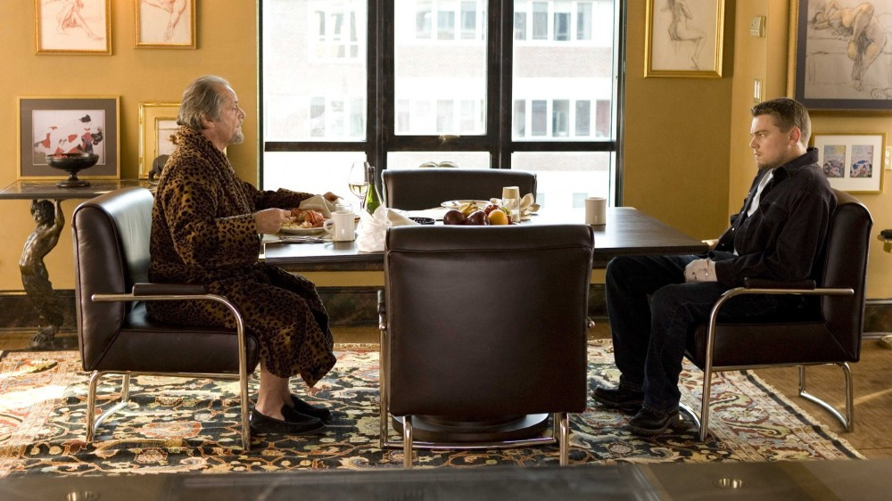 "Frank Costello (JACK NICHOLSON) talks business with his new employee, Billy Costigan (LEONARDO DiCAPRIO), in Warner Bros. Pictures' crime drama ""The Departed."" PHOTOGRAPHS TO BE USED SOLELY FOR ADVERTISING, PROMOTION, PUBLICITY OR REVIEWS OF THIS SPECIFIC MOTION PICTURE AND TO REMAIN THE PROPERTY OF THE STUDIO. NOT FOR SALE OR REDISTRIBUTION."