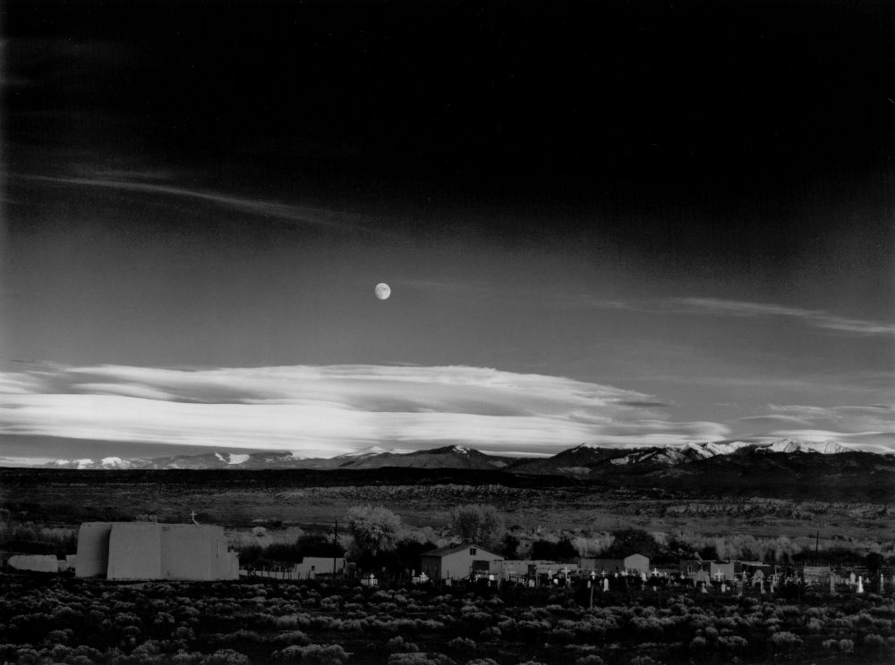 ansel-adams-moorise-hernandez-new-mexico-1941